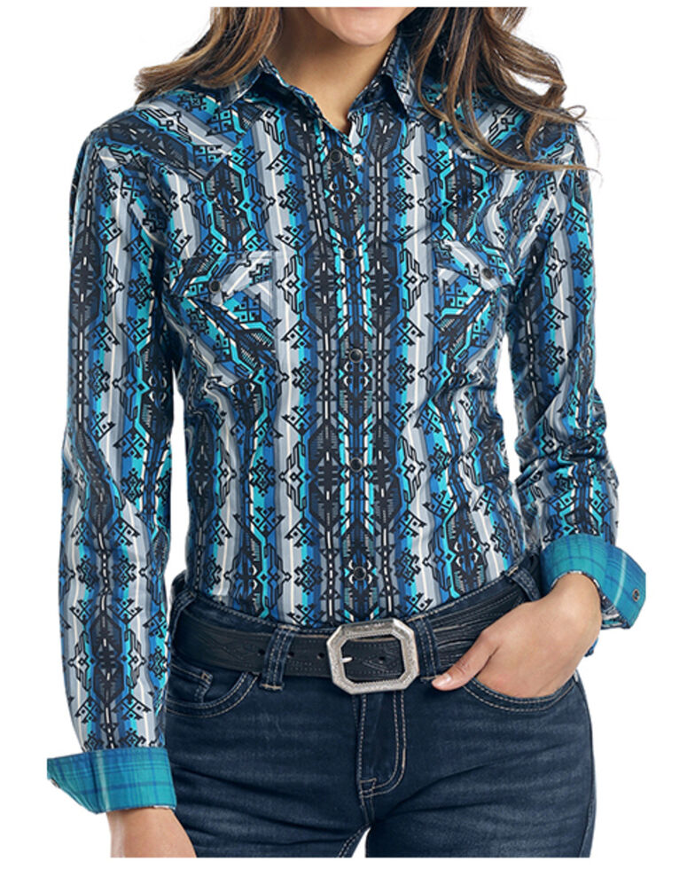 Rough Stock By Panhandle Women's Weston Aztec Print Long Sleeve Western Shirt , Turquoise, hi-res