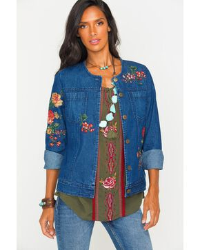 New Direction Sport Women's Indigo Collarless Floral Denim Jacket , Indigo, hi-res