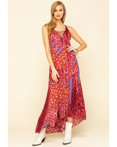 Free People Women's Work of Art Printed Maxi Dress, Dark Pink, hi-res