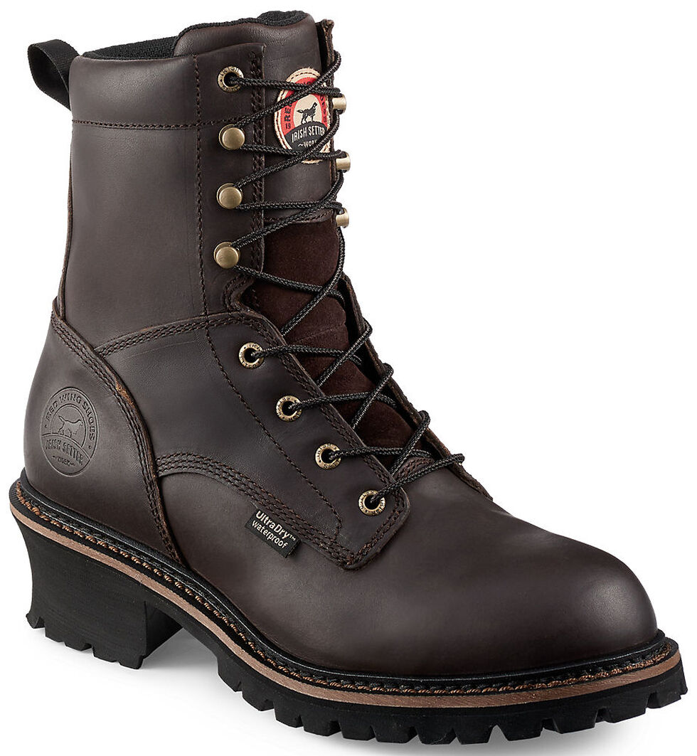 """Irish Setter by Red Wing Shoes Men's Mesabi Dark Brown Insulated Logger 8"""" Work Boots - Steel Toe , , hi-res"""