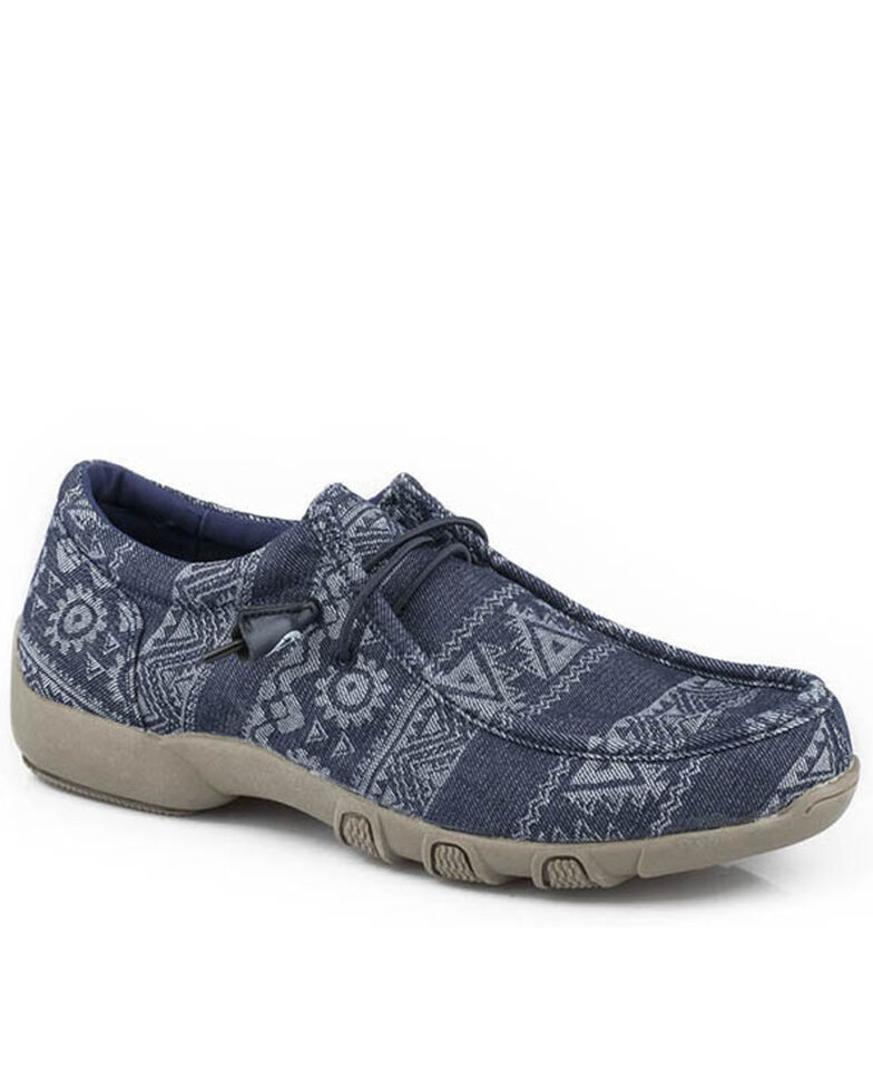 Roper Women's Chillin' Aztec Casual Shoes - Moc Toe, Blue, hi-res