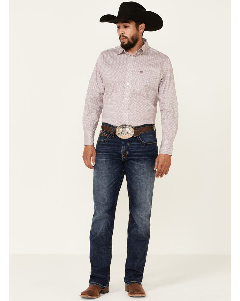 Wrangler 20X Men's Burgundy Small Geo Print Performance Long Sleeve Button-Down Western Shirt , Burgundy, hi-res