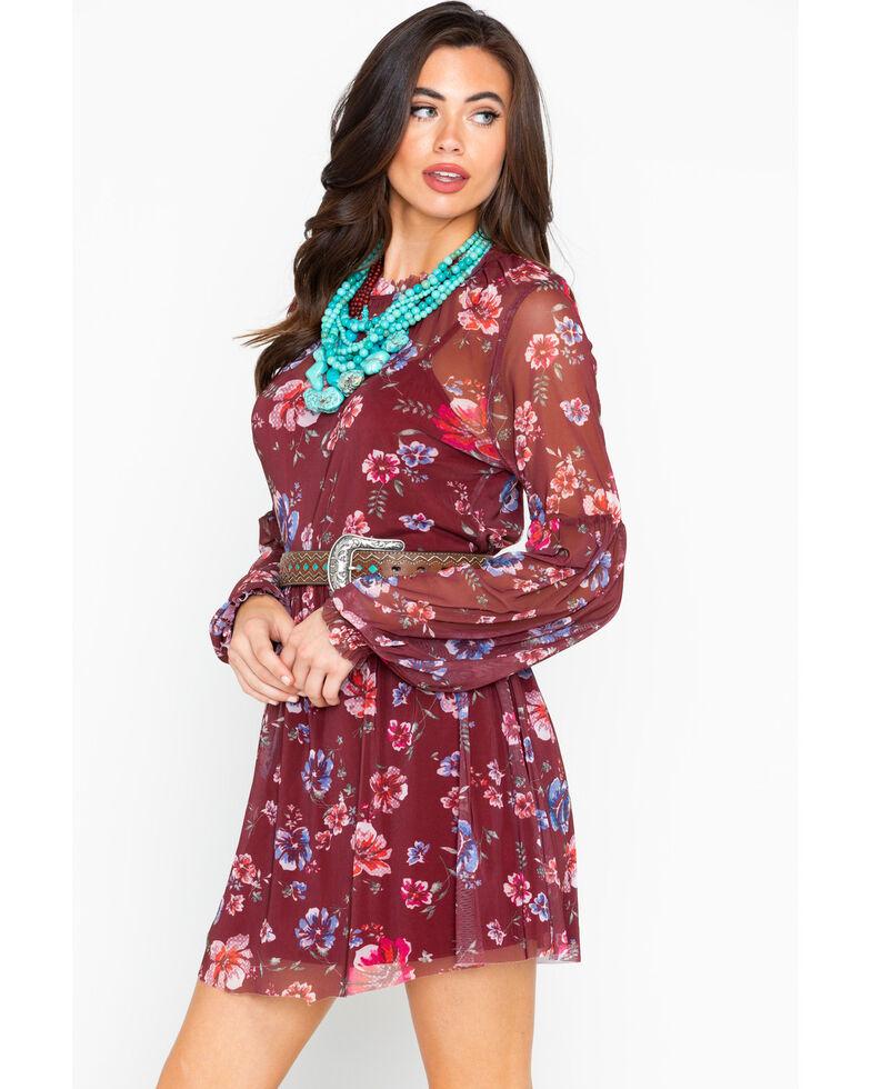 Eyeshadow Women's Floral Sheer Long Sleeve Dress , Burgundy, hi-res