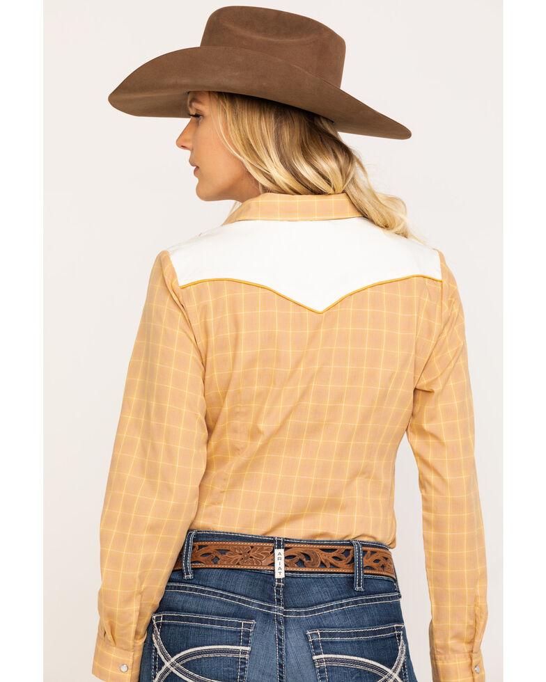 Karman Women's Mustard Embroidered Yoke Long Sleeve Shirt , Mustard, hi-res