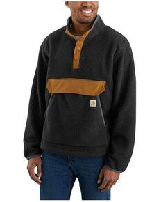 Carhartt Men's Black Relaxed Fit 1/4 Snap Fleece Work Pullover , Black, hi-res