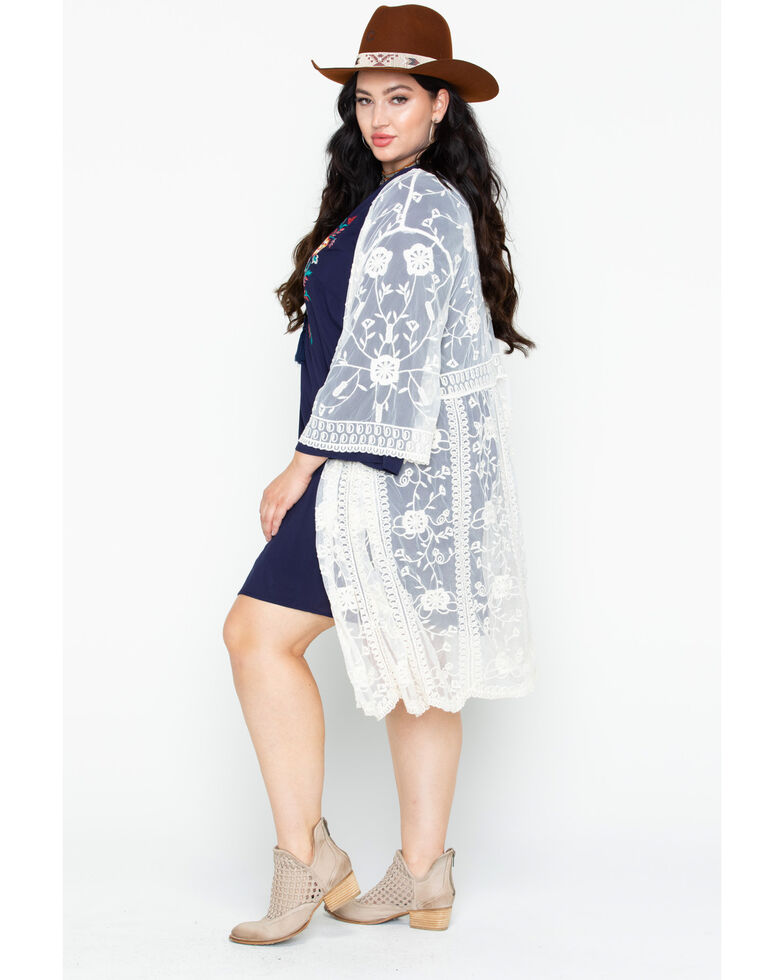 Eyeshadow Women's Lace Embroidered Long Sleeve Duster Kimono - Plus Size , Ivory, hi-res