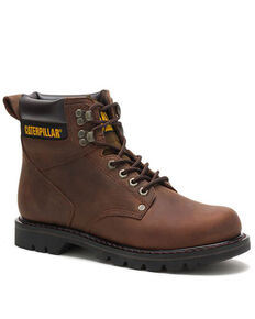 """Caterpillar 6"""" Second Shift Lace-Up Work Boots - Round Toe, Dark Brown, hi-res"""