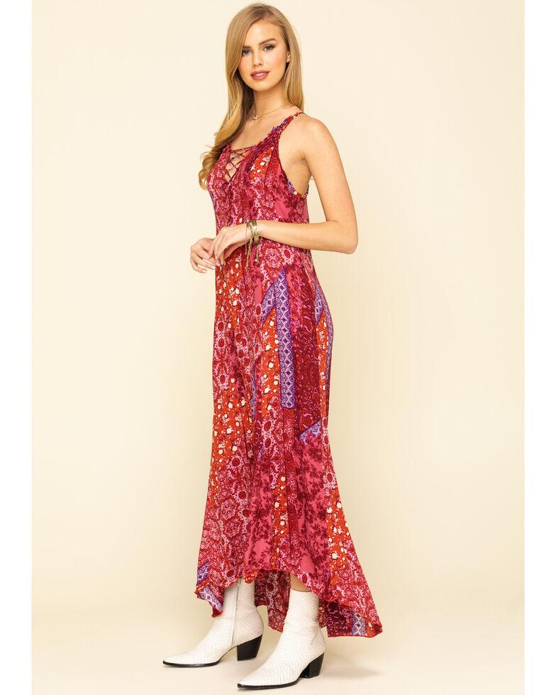 Free People Women's Work of Art Printed Maxi Dress, Dark Pink, hi-res