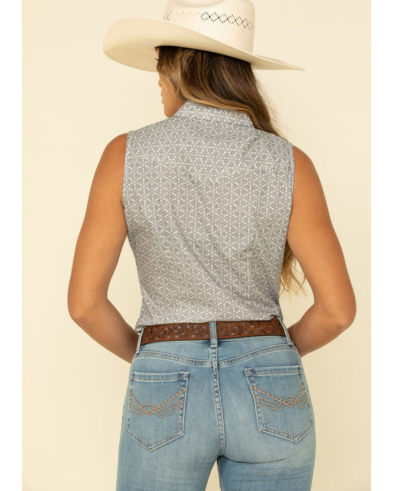 Amarillo Women's Grey Geo Sleeveless Western Shirt, Grey, hi-res