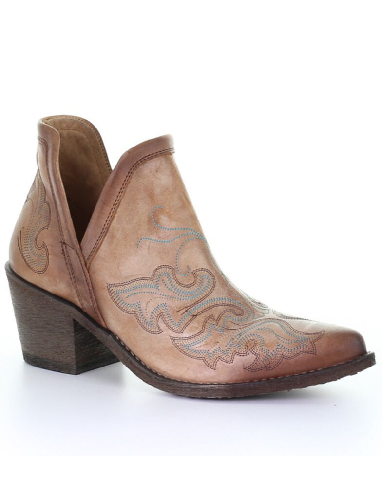 Circle G Women's Cognac Embroidery Fashion Booties - Round Toe, Brown, hi-res