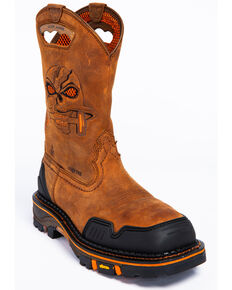 Cody James Men's Decimator Skull Western Work Boots - Nano Composite Toe, Brown, hi-res
