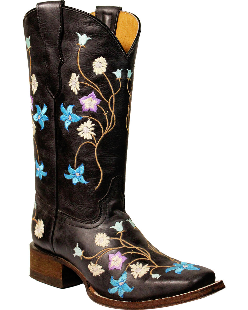 Corral Girls' Multi-Color Embroidery Cowgirl Boots - Square Toe, Black, hi-res