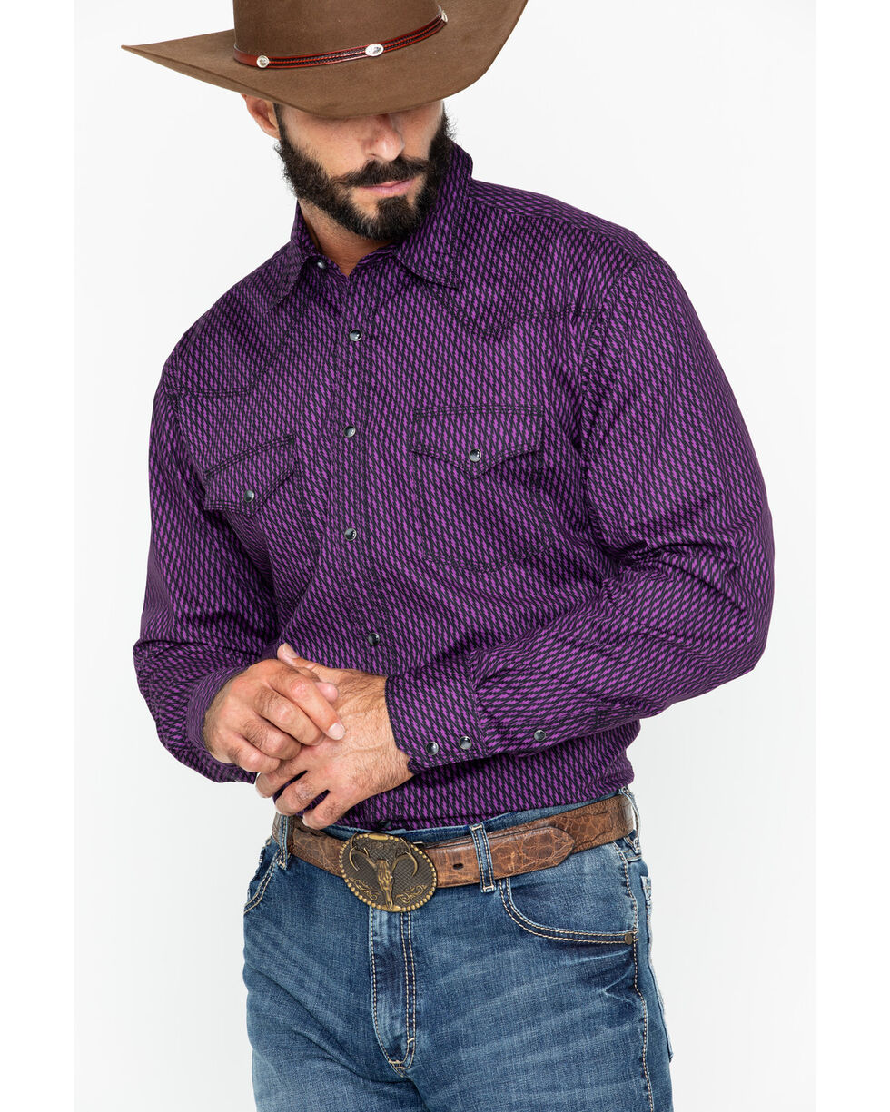 Wrangler 20X Men's Diamond Print Advanced Comfort Long Sleeve Western Shirt , Black/purple, hi-res