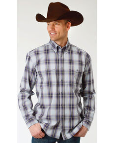 Roper Men's Winter Plum Plaid Long Sleeve Button Down Shirt, Blue, hi-res