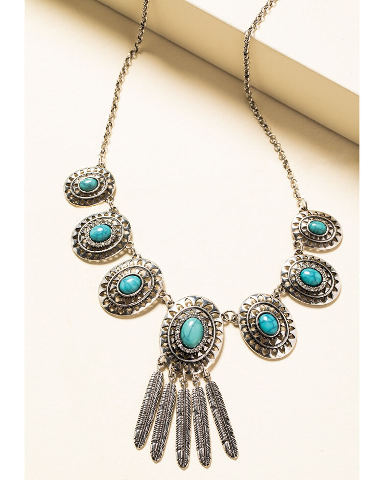 Shyanne Women's In The Oasis Short Concho Fringe Necklace, , hi-res