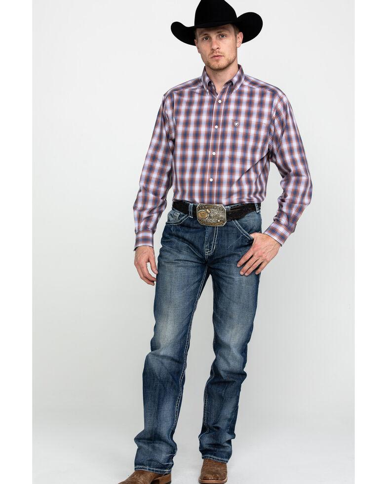 Ariat Men's Wrinkle Free Valero Plaid Long Sleeve Western Shirt - Tall , Multi, hi-res