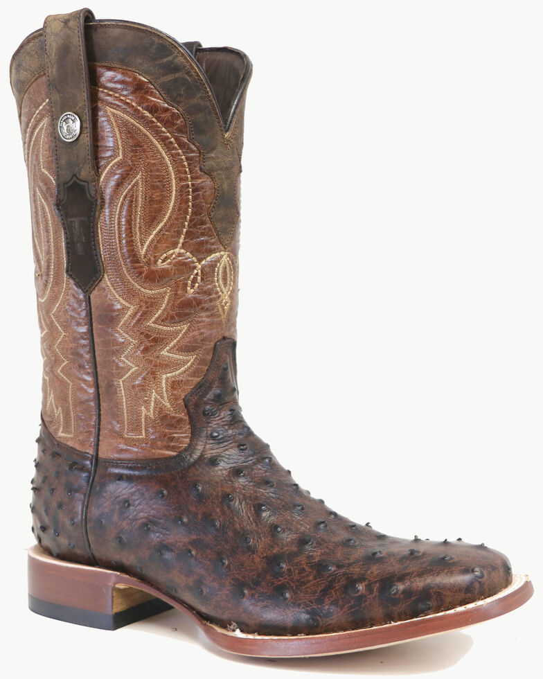Tanner Mark Men's Brown Ostrich Print Western Boots - Wide Square Toe, Brown, hi-res