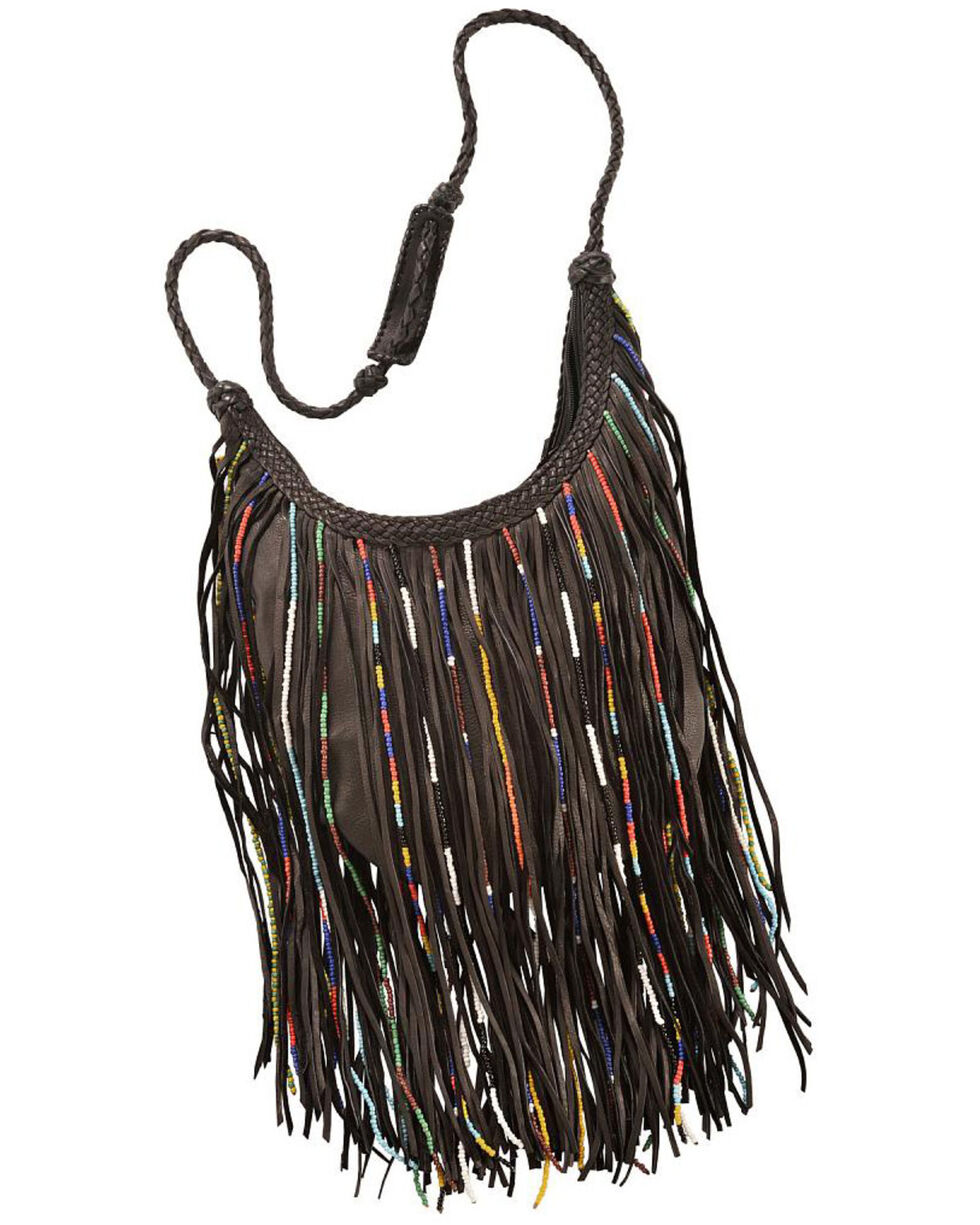 Kobler Leather Bead and Fringe Gypsy Bag , Black, hi-res