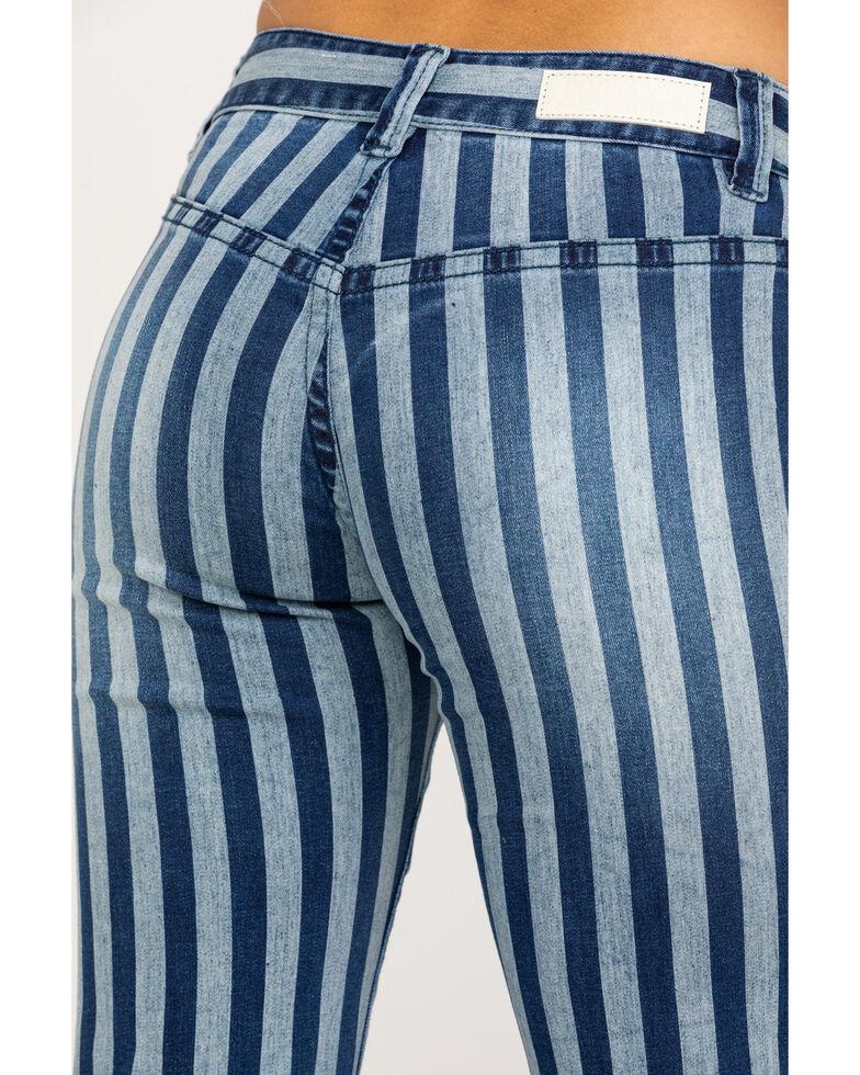 Rock & Roll Cowgirl Women's Medium Stripe Flare Jeans, Blue, hi-res