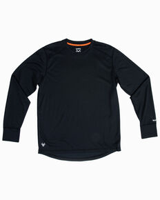 Hawx Men's Black Mid-Weight Base Layer Thermal Long Sleeve Work Shirt  , Black, hi-res
