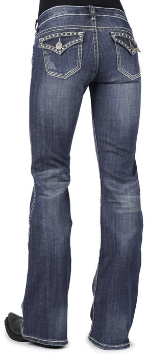Stetson Women's 816 Classic Fit Studded Flap Pocket Jeans, Denim, hi-res