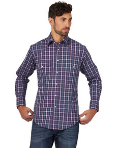 Wrangler Men's Purple Wrinkle Resist Med Plaid Long Sleeve Western Shirt , Purple, hi-res