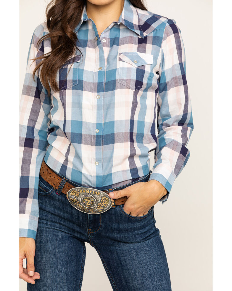 As Real As Wrangler Women's Blue Plaid Snap Long Sleeve Western Shirt, Multi, hi-res