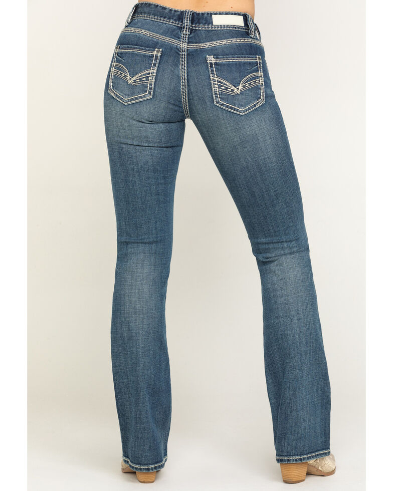 Rock & Roll Cowgirl Women's Medium Thick Stitch Bootcut Jeans , Blue, hi-res
