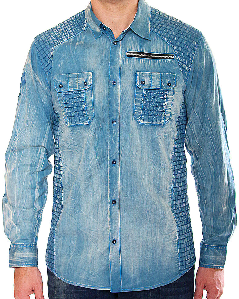 Austin Season Men's Blue Criss-Cross Pattern Long Sleeve Western Shirt , Blue, hi-res