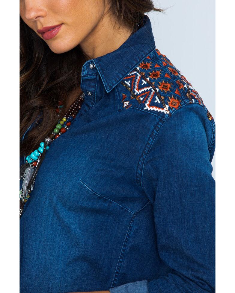 Grace in LA Embroidered Denim Shirt , Indigo, hi-res
