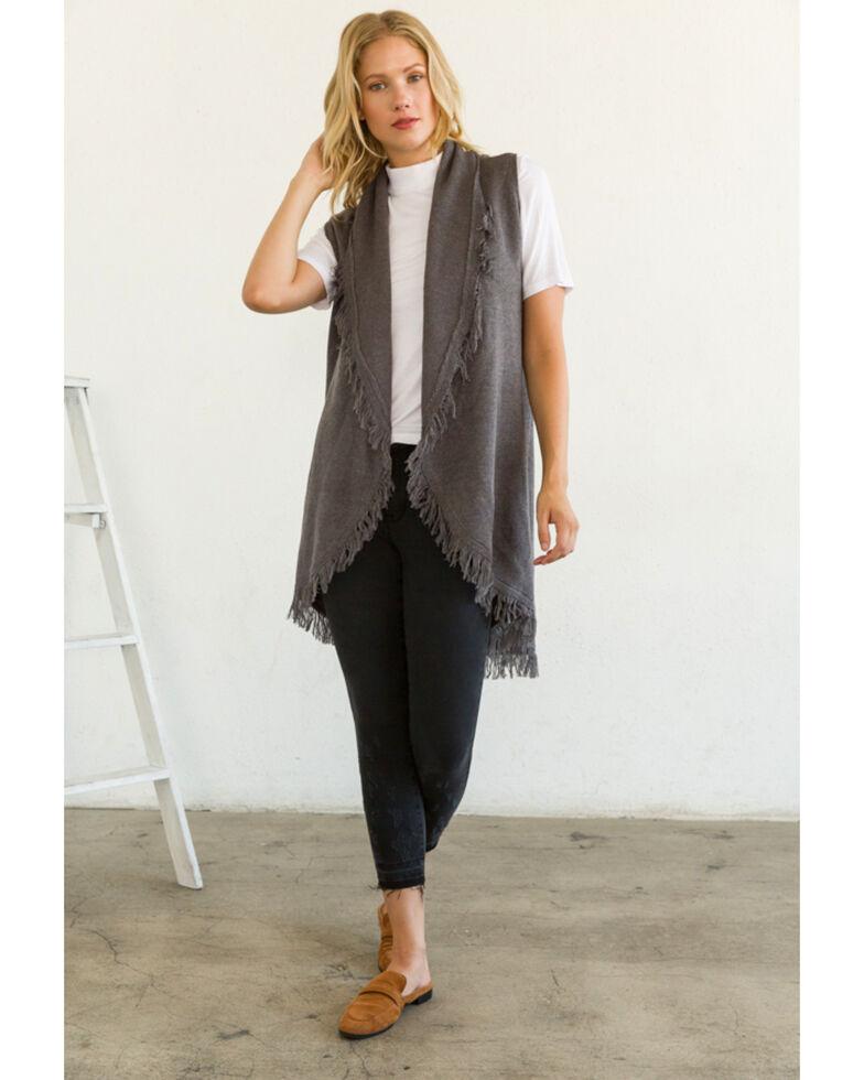 Mystree Women's Drape Fringe Vest, Charcoal, hi-res