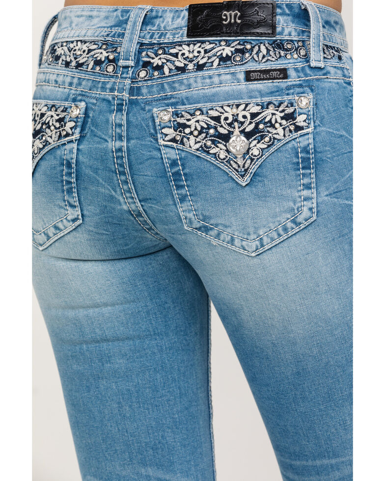 Miss Me Women's Light Wash Faux Flap Embroidered Bootcut Jeans, Blue, hi-res