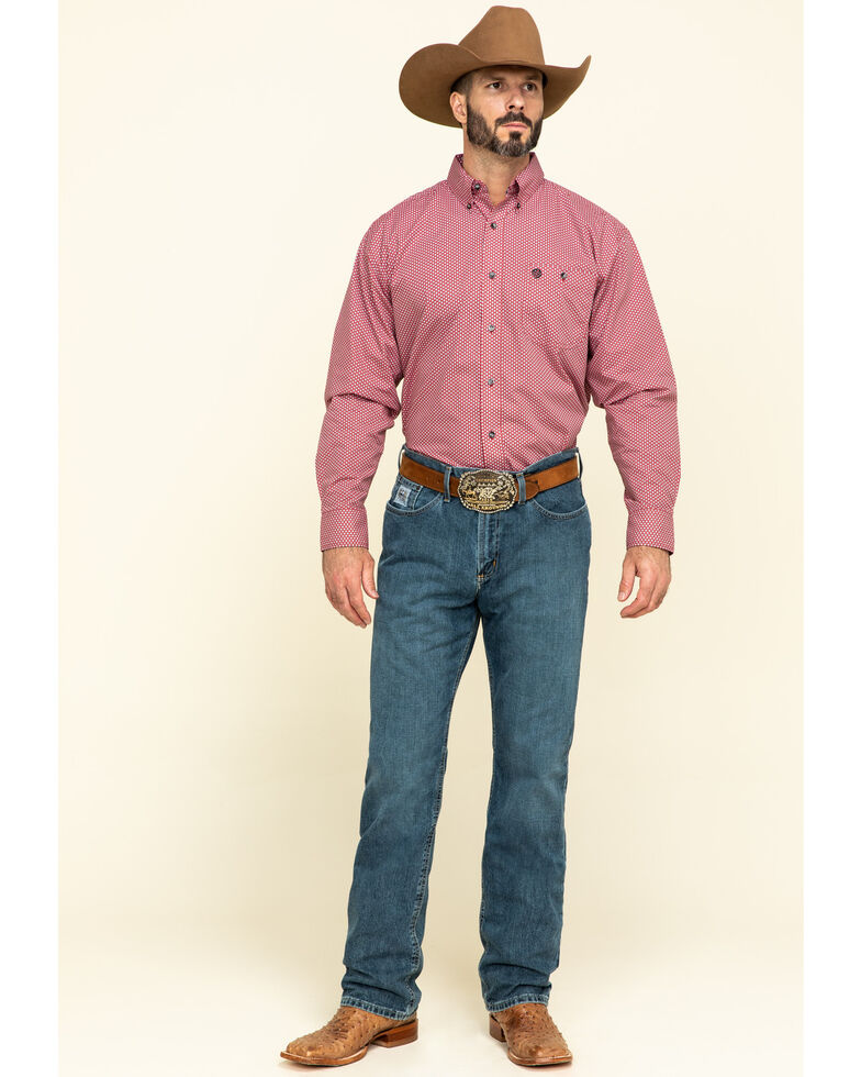 George Strait By Wrangler Men's Red Small Geo Print Long Sleeve Western Shirt - Tall, Red, hi-res