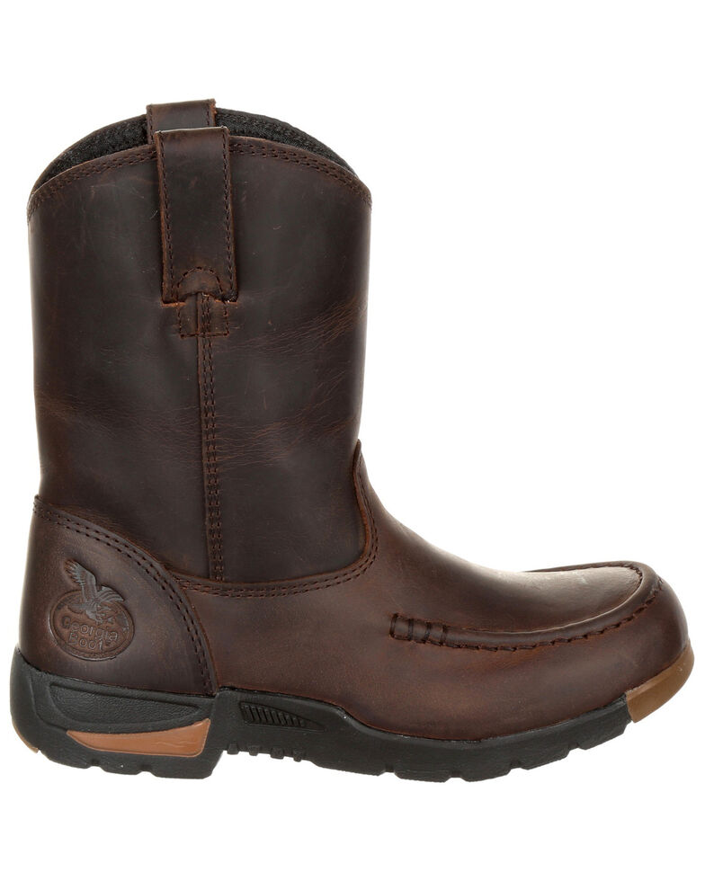 Georgia Boot Girls' Athens Pull-On Boots - Moc Toe, Brown, hi-res