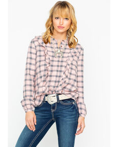 Shyanne Women's Plaid Ruffle Front Blouse, Blush, hi-res