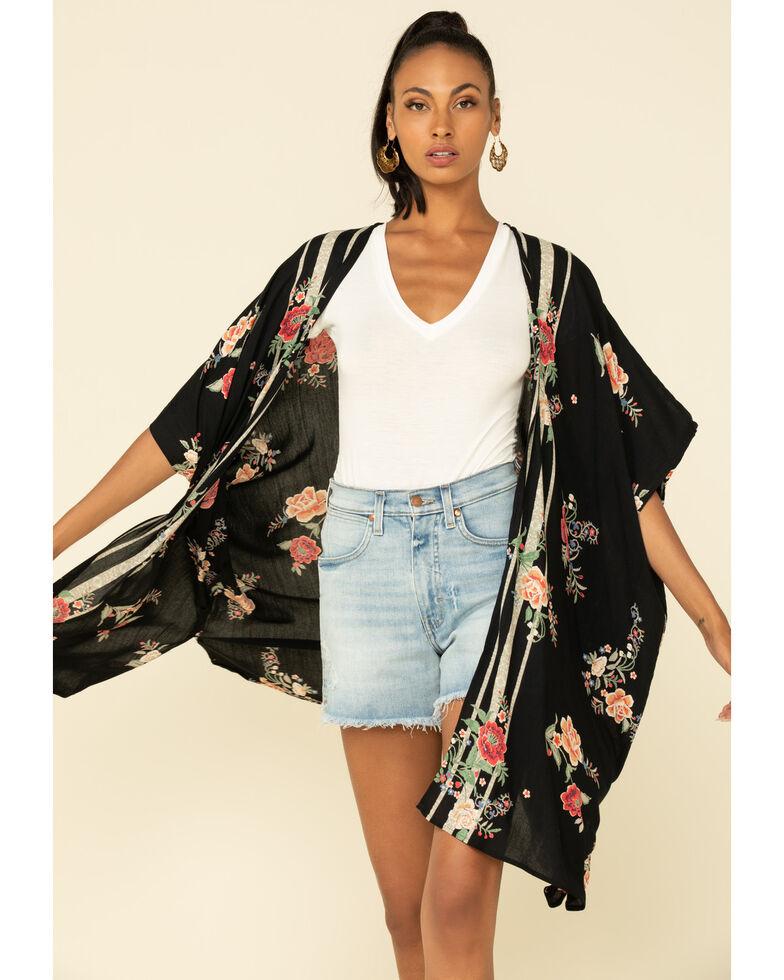 Angie Women's Black Floral Border Print Kimono , Black, hi-res