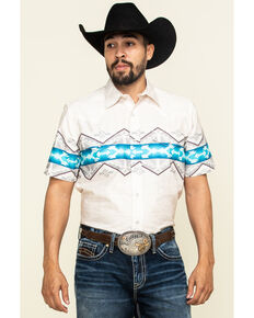 Roper Men's White Vintage Aztec Border Print Short Sleeve Western Shirt , White, hi-res