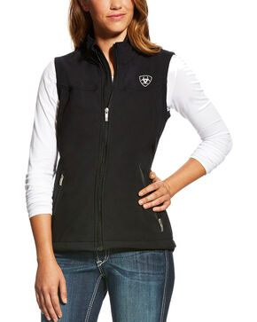 Ariat Women's Team Softshell Vest, Black, hi-res