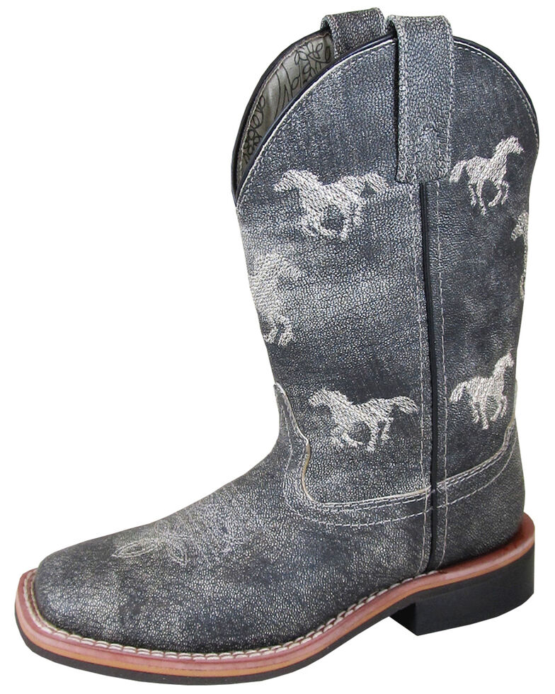 Smoky Mountain Youth Boys' Rancher Western Boots - Square Toe, Grey, hi-res