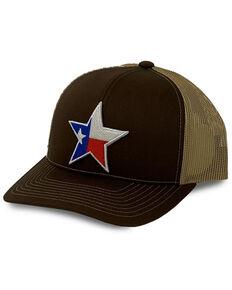 Oil Field Hats Men's Khaki & Brown Texas Flag Star Patch Mesh-Back Ball Cap, Brown, hi-res
