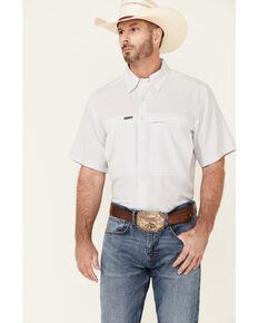 Panhandle Men's White Performance Geo Print Short Sleeve Button-Down Western Shirt , White, hi-res
