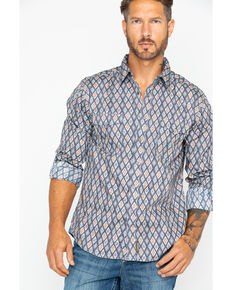 Wrangler Retro Men's Premium Aztec Print Long Sleeve Western Shirt , Grey, hi-res