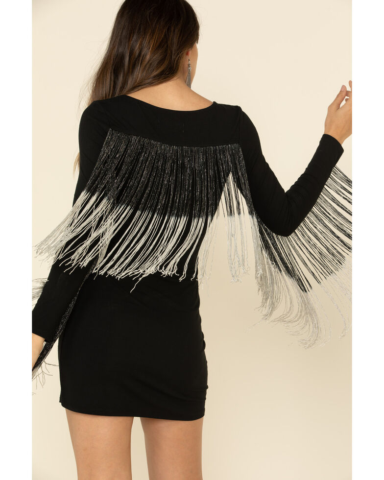 Idyllwind Women's Queen Of The Night Fringe Dress, Black, hi-res