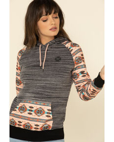 HOOey Women's Charcoal Saguaro Aztec Hoodie Sweatshirt, Charcoal, hi-res