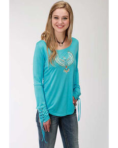 Five Star Women's Eagle Long Sleeve Top, Blue, hi-res