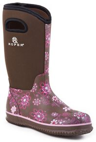 Roper Neoprene Shaft Rubber Boots - Round Toe, Brown, hi-res