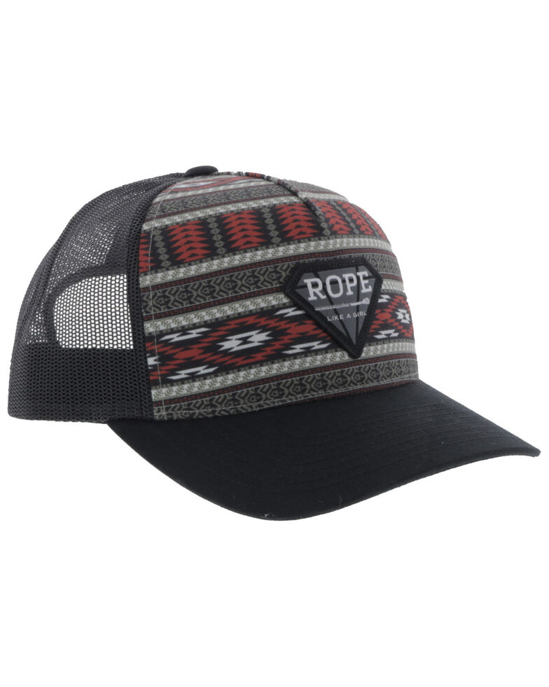 Hooey Women's Multi Aztec Rope Like A Girl Diamond Patch Mesh Ball Cap , Multi, hi-res