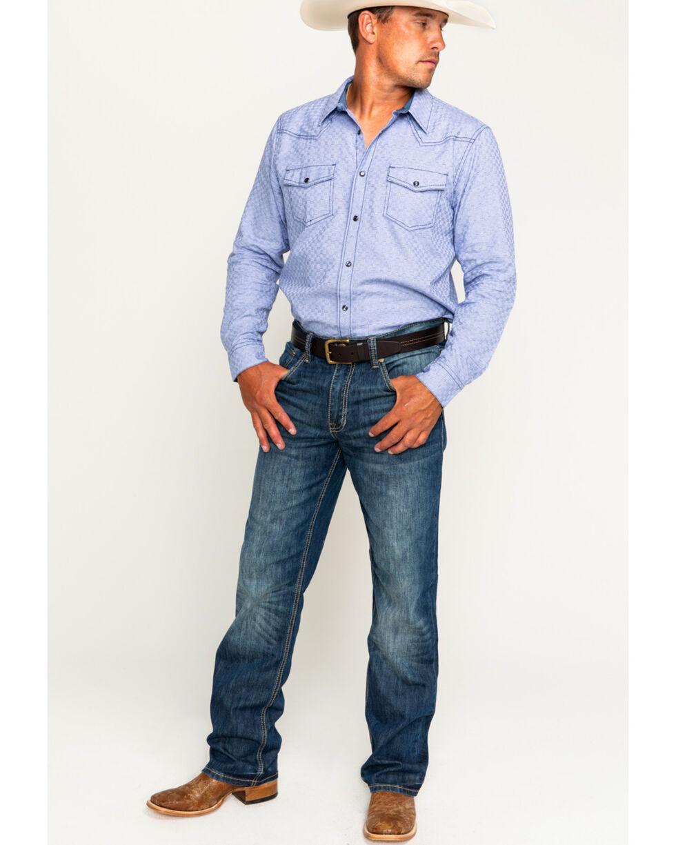 Cody James Men's Giddings Basketweave Long Sleeve Western Snap Shirt, Light Blue, hi-res