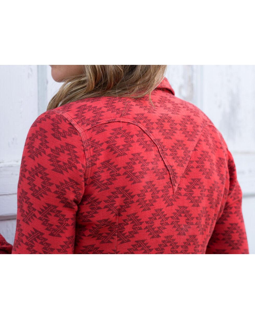 Ryan Michael Women's Mesquite Jacquard Shirt , Red, hi-res