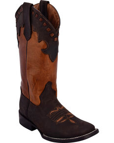 Ferrini Women's Old West Chocolate Cowgirl Boots - Square Toe, Chocolate, hi-res